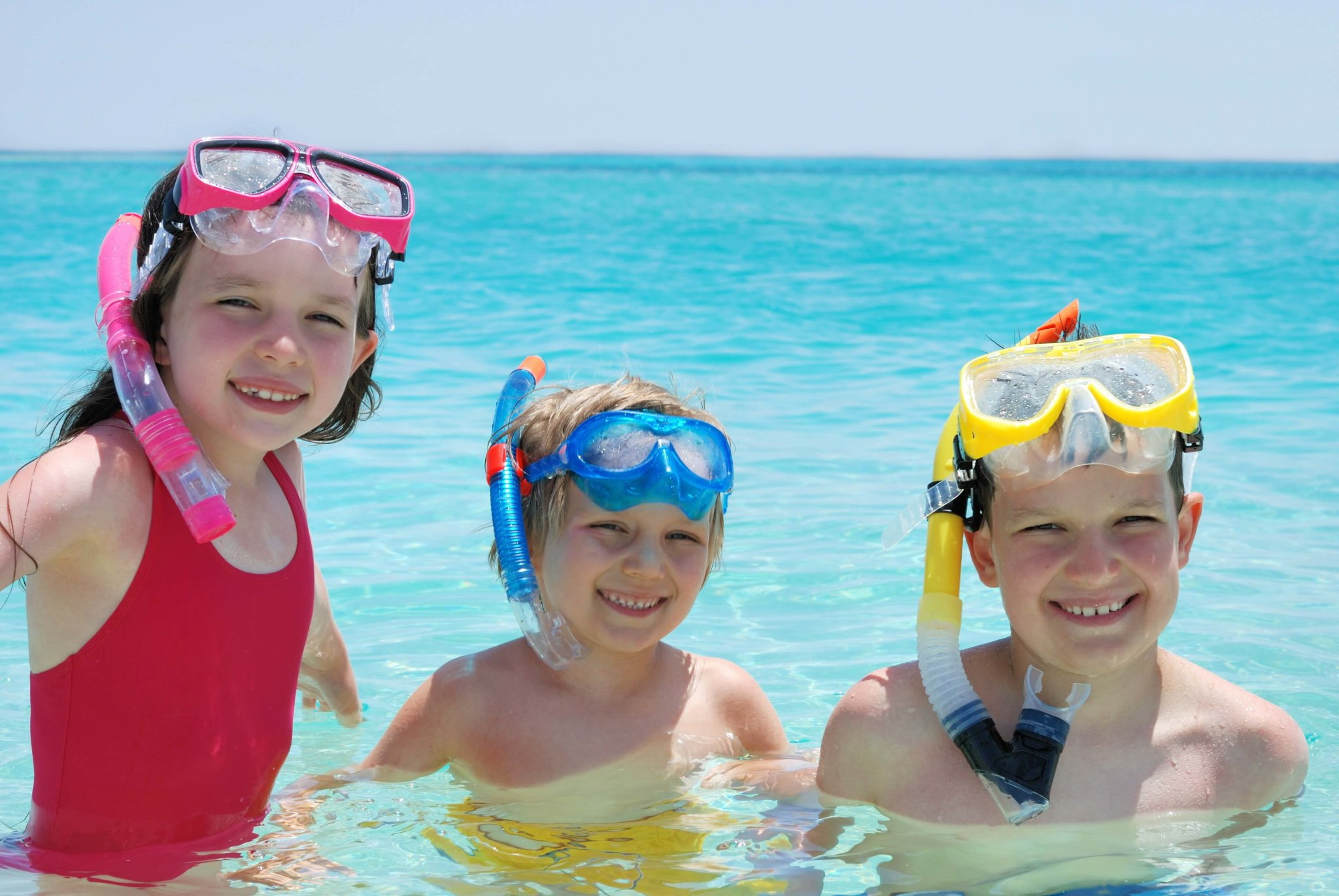 kids with snorkel masks in the Virgin Islands
