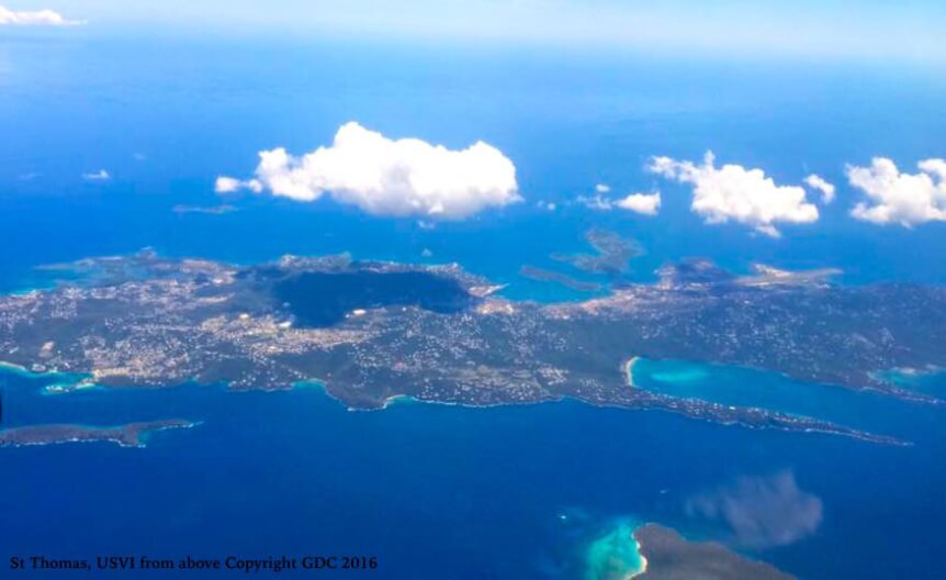 aerial of st thomas, USVI, thank you from Good Day Charters